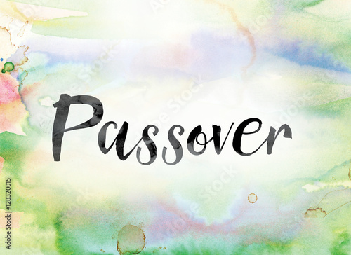 Passover Colorful Watercolor and Ink Word Art Canvas Print