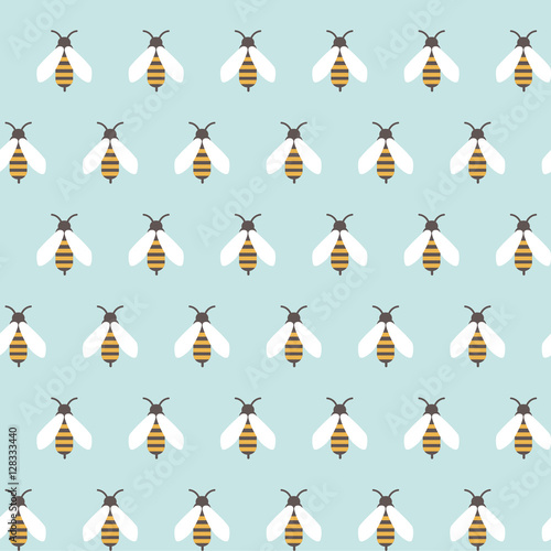 Cotton fabric seamless pattern with repeated bees ornament