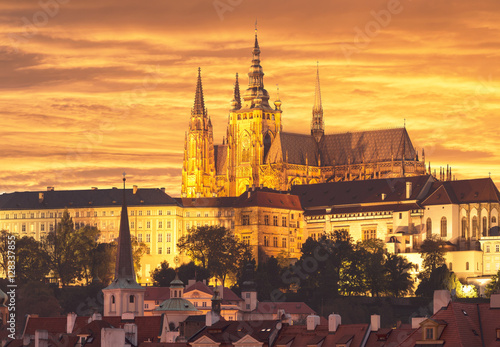 Fotografie, Obraz  the Cathedral of St. Vitus at sunset. Czech Republic