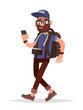 Navigation on your smartphone. Tourist man is guided in an unfam