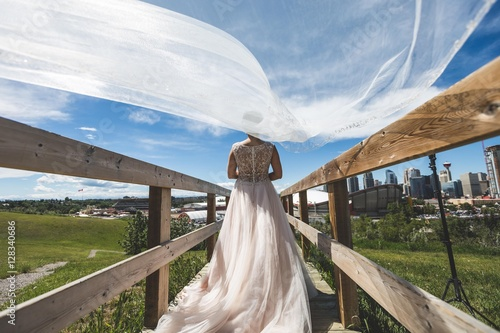 Wall Murals Khaki Veil Blowing in the Wind