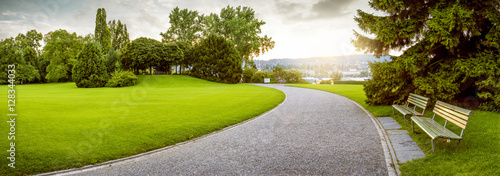 Spoed Foto op Canvas Bomen Panorama of a beautiful city park