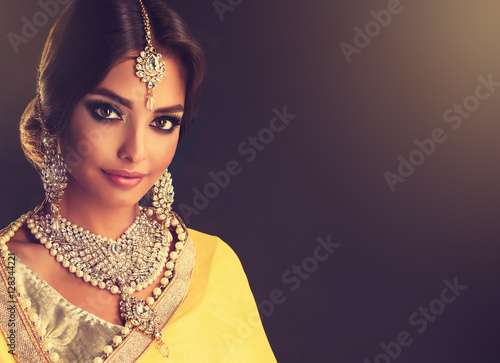 Portrait of beautiful indian girl . Young hindu woman model