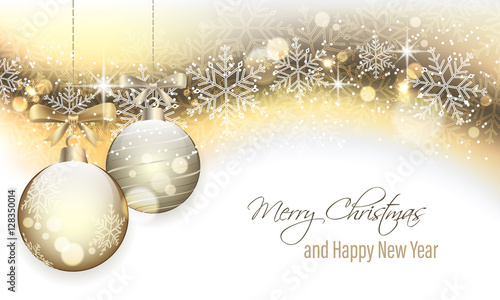 Photo  Christmas banner with hanging baubles.