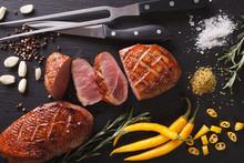 Freshly Sliced Roast Duck Brea...
