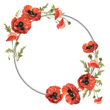 Wildflower Poppy Flower Wreath In A Watercolor Style Isolated.