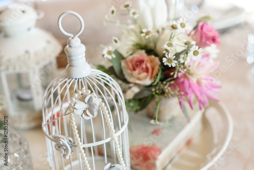 Shabby Chic Decoration With Beautiful Vintage Birdcage And
