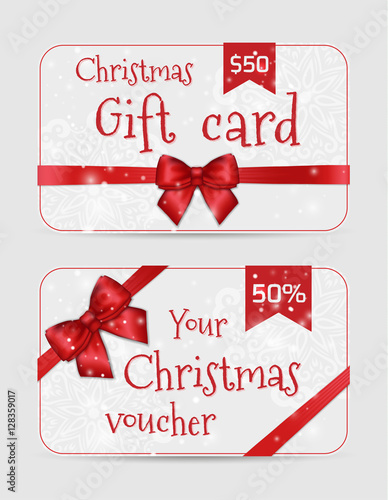 Set Of Christmas Ornamental Card Templates With Shiny Holiday Red