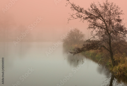 Mystical sunrise in autumn by the pond