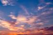 Sunset sunrise clouds on sky, nature landscape