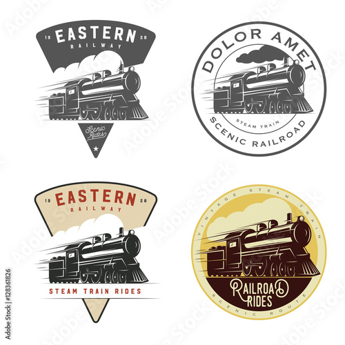 Set of vintage retro railroad steam train logos, emblems, labels and badges Fototapeta