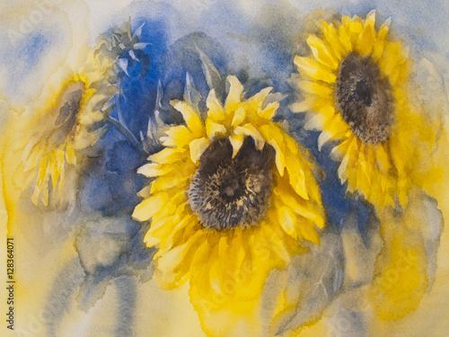 Plakaty sunflowers on blue background