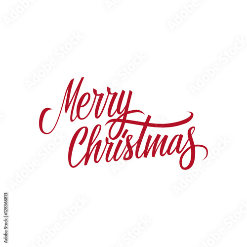 Fotografía  Merry Christmas calligraphic lettering design card template