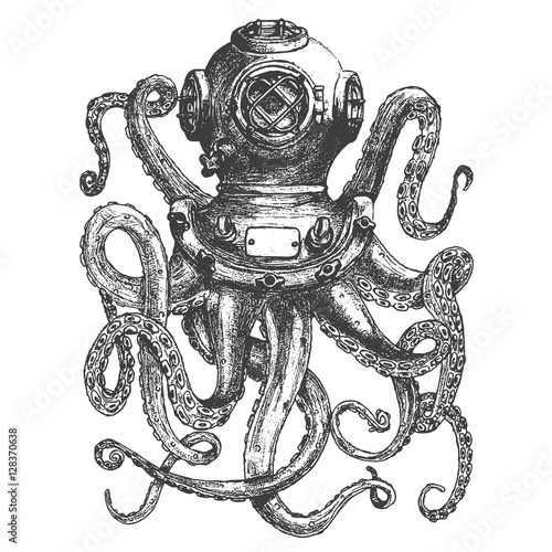 Fotografie, Obraz  Vintage style diver helmet with octopus tentacles isolated on white background