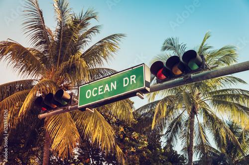 Plakat Ocean Drive znak drogowy z palmami, Miami