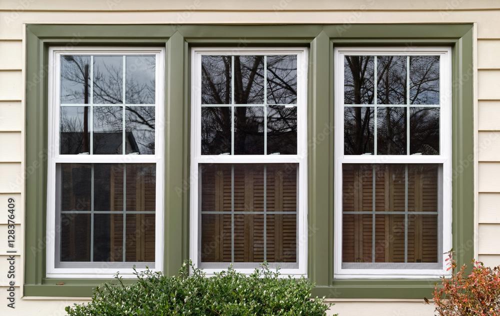 Fototapeta New white with green trim vinyl replacement windows. Horizontal.