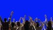 Crowd of fans dancing on blue screen. Concert, Jumping, Dancing, Hands up. Slow motion. Shot on RED EPIC Cinema Camera.