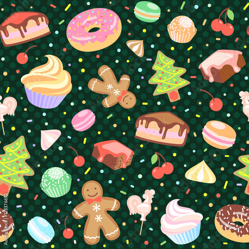 Cotton fabric Dessert seamless vector pattern with Christmas elements.