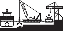 Dredger Ship Deepens Port - Vector Illustration