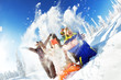 canvas print picture - Group happy friends winter sports friendship fun