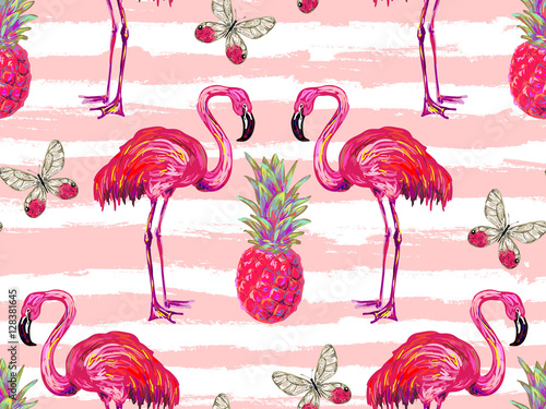 Fotografie, Tablou Summer jungle pattern with tropical butterflies, flamingo and pineapple vector background