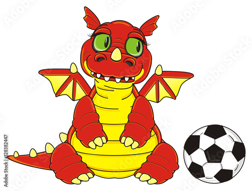 stand, want, play, ball, soccer, dragon, animals, fantasy, wings, reptile, orang Poster