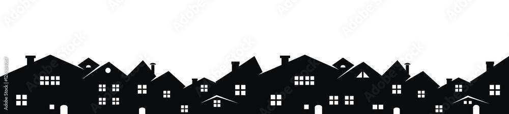 Fototapeta Cityscape, vector background, black silhouette