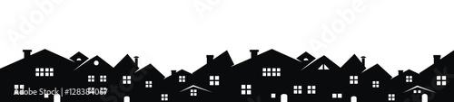 Pejzaż miejski, wektorowy tło, czarna sylwetka