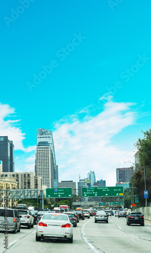 Traffic in 110 freeway in Los Angeles - Buy this stock photo