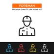 Vector construction foreman icon. Thin line icon