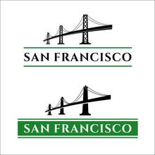 San Francisco Bridge. San Francisco - Oakland Bay Bridge Vector Illustration. California. San Francisco Business Center