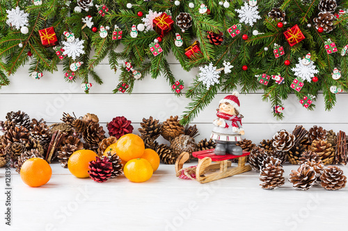 Christmas background  Decorated Christmas fir tree branch, copy
