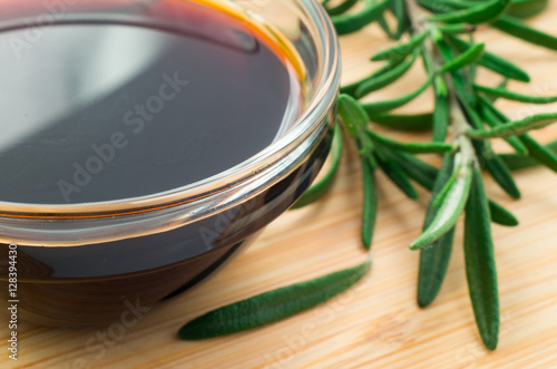 Defocused and blurred image of soy sauce