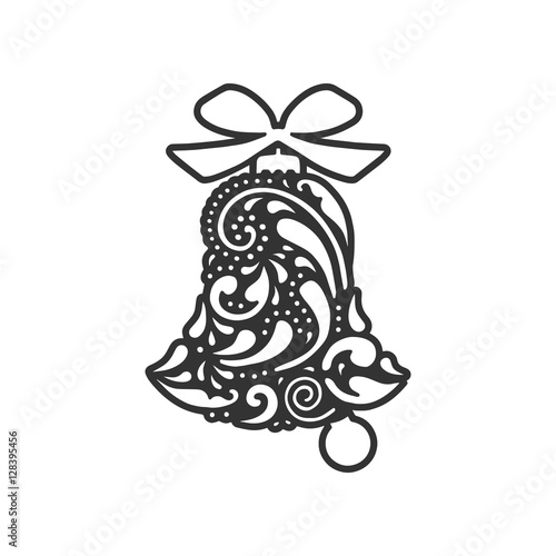 Christmas Cutout Patterns.Bell With Geometric Pattern Vector Design Laser Cutting