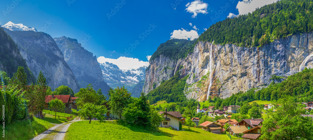 Fototapety, obrazy: Famous Lauterbrunnen valley with gorgeous waterfall and Swiss Alps, Bern, Switzerland
