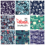 Fototapeta Młodzieżowe - Graffiti seamless patterns set