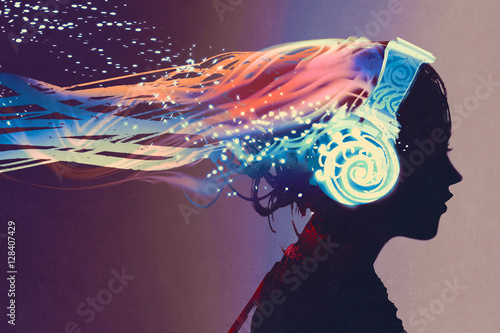 Fotografia  woman with magic glowing headphones on dark background,illustration painting