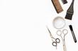 Leinwandbild Motiv hairdresser tools on white background top view
