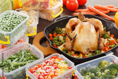 Cooking Frozen Vegetables And Roasted Chicken Food Buy This Stock