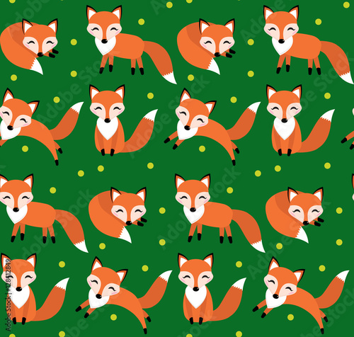 Cotton fabric Cute fox seamless pattern. Foxy endless background, texture. Children s backdrop. Vector illustration