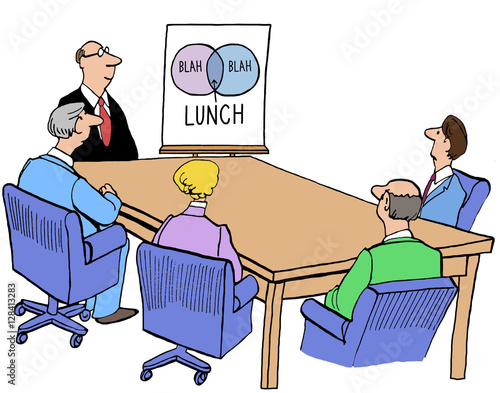 Business Illustration Of A Meeting With A Venn Diagram Blah