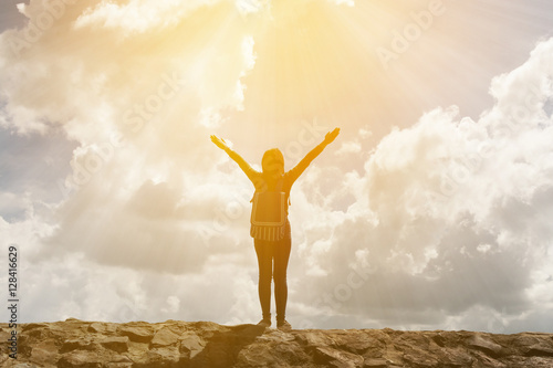 Fototapety, obrazy: young woman with backpack enjoying tourist traveler