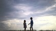boy gives a girl a flower on a sky background, gift of glad girl, love concept