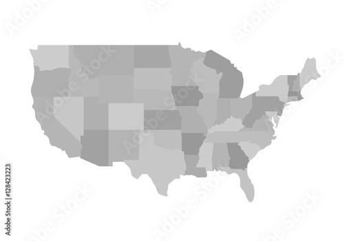 California Outline Map Blank Similar USA Isolated On White Background United States Of