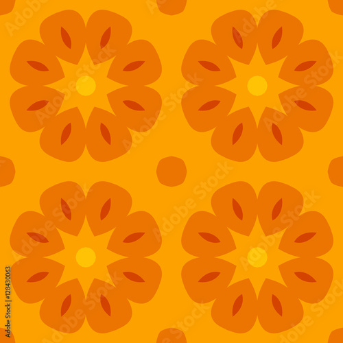 Seamless Texture With Cute Stylized Flowers In Warm Orange For - Orange print sheets