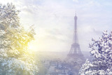 Fototapeta Fototapety z wieżą Eiffla - Christmas background : Aerial view of Paris cityscape with Eiffel tower at winter sunset in Paris. Vintage colored picture. Business, Love and travel concept