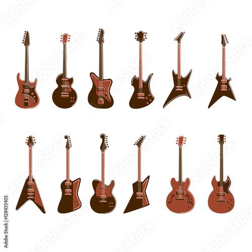 Cuadros en Lienzo Electric guitars set on white background