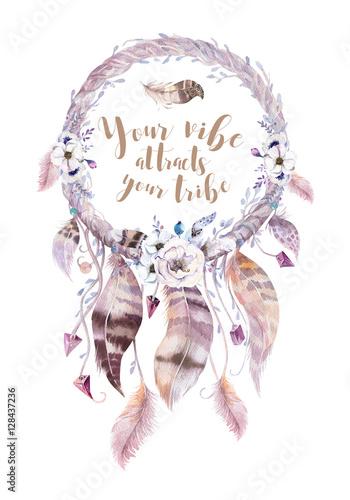 Plakat w ramce 40x30 cm Isolated Watercolor decoration bohemian dreamcatcher. Boho feath