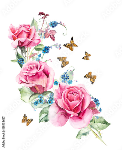 Pattern from pink rose wedding drawings watercolor painting pattern from pink rose wedding drawings watercolor painting greeting cards rose background m4hsunfo