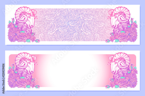 Horizontal Banners With Zodiac Aries And A Decorative Frame Of Roses Astrology Web Element Tattoo Design Sketch In Pastel Pallette Isolated On Elegant Pattern Background Eps10 Vector Illustration Buy This Stock